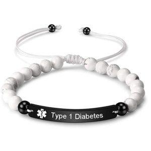 Engraved Bead Type 1 Diabetes Medical Alert ID